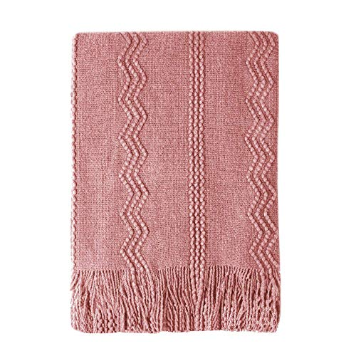Bourina Textured Solid Soft Sofa Throw Couch Cover Knitted Decorative Blanket, 50' x 60',Coral Pink