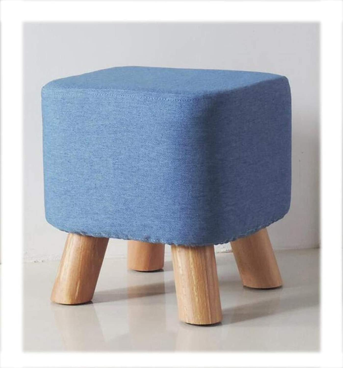 Footstool Small Stool Solid Wood Simple Modern shoes Bench Home Coffee Table Stool Fabric Sofa Stool Low Pouffe Sofa Stool for Kids with Wooden Leg (color   bluee)