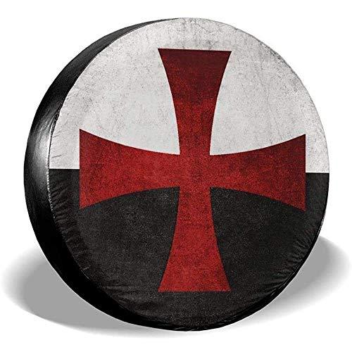 MOLLUDY Funda de Rueda de Repuesto Bandera en Blanco y Negro con Cruz de Hierro Roja Funda de Llanta de Repuesto Cubierta de llanta de refacción 14/15/16/17 Inch