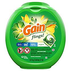 Gain Flings Laundry Detergent Pacs, Original Scent, 72 Pacs Capsules, 57 Ounce (Packaging May Vary)