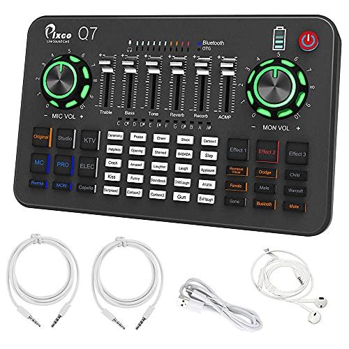 Tarjeta de sonido en vivo, PIXCO Q7 con efectos y cambiador de voz, mini mesa mezcladora de sonido con múltiples efectos de sonido, mezclador de audio para grabación de música