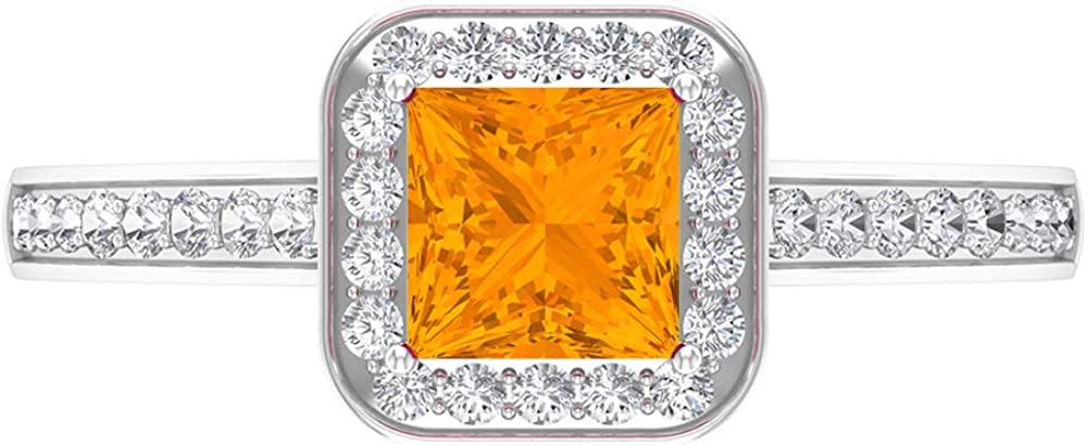 Rosec Jewels - 5 MM Princess Created Directly managed store Lab Sol Sapphire Cut Gifts Orange