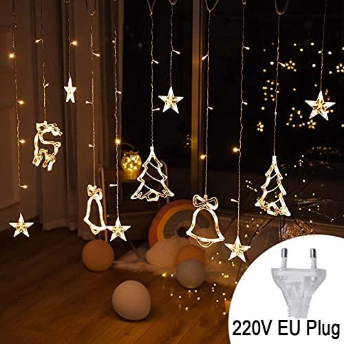 LED Campanas de Ciervo Luz de CortinaGuirnalda de Navidad Cadena de Luces de Hadas Al Aire Libre para el hogar Fiesta de Bodas Decoración de año Nuevo - Blanco cálido220V, a1