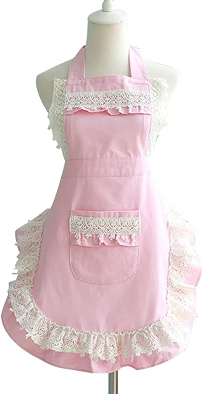 Cozy Room Lovely Lace Adjustable Apron For Women Girls With Pockets Vintage Kitchen Aprons Cooking Retro Apron Dress For Christmas Gifts Pink