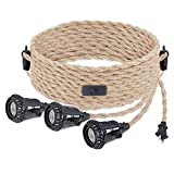 Hanging Lights Cord Kit,Plug in Pendant Light Cord with Switch DIY Hemp Rope Industrial Vintage Farmhouse Pendant Lighting Fixture Socket Plug in 3 Light Rope Hanging Lantern Cable for Bedroom Kitchen
