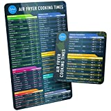 Air Fryer Magnetic Cheat Sheet Set, Air Fryer Accessories Cook Times, Airfryer Accessory Magnet Sheet Quick Reference Guide for Cooking and Frying (Black)