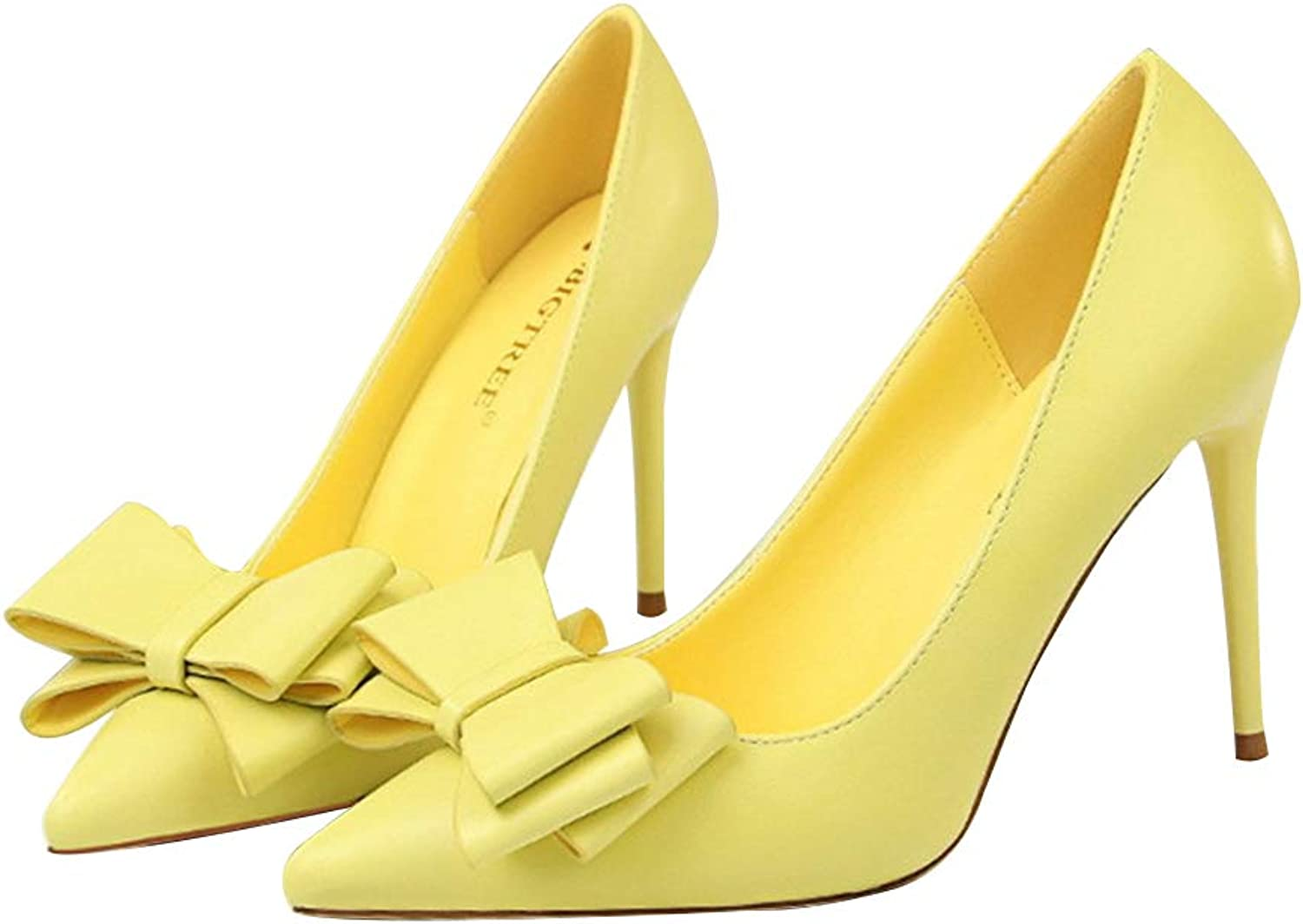 Smart.A Women's Fashion Pointed Shallow Mouth Bow high Heels