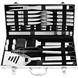 grilljoy 29PC BBQ Accessories Kit with Case - Stainless Steel Grill Set for Men - Complete BBQ Grill Utensils for Barbecue Backyard Party - Perfect Grill Gift on Birthday Mothers Day Fathers Day