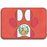 Odelia Palmer Peru Flag Dog Paw Felpudo Interior/Exterior para Muebles de hogar Cocina