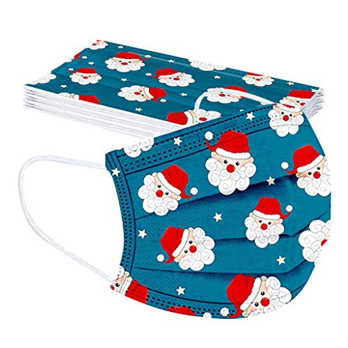 lady hill-iu 100/30/20/10PCS Children's Christmas Printed Earloop Mask Single-use Outdoor Activities Protective Covering