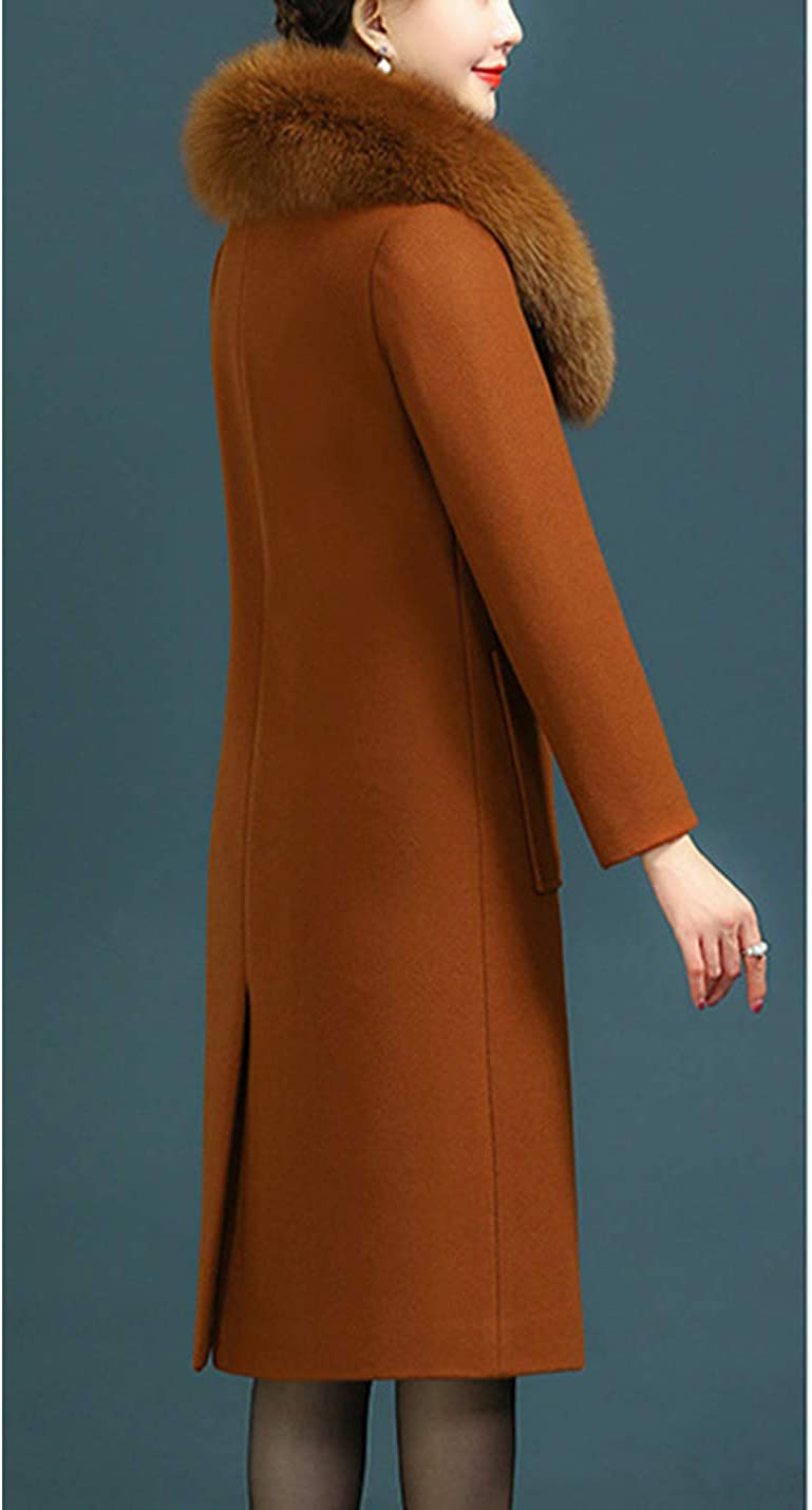 Uaneo Womens Slim Fit Faux Fur Collar Button Up Wool Blended Mid Long Coat Jackets(Caramel-M)