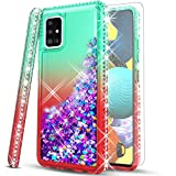 STARSHOP - Samsung Galaxy A71 5G Phone Case, [NOT FIT A71 4G /A71 UW] with [Tempered Glass Protector Included] Liquid Floating Glitter Quicksand Bling with Spot Diamond Cover - Green/Red