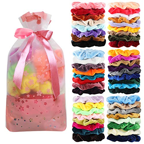 Price comparison product image 50 Pcs Velvet Hair Scrunchies Assorted Color Elastics Hair Bands Hair Ties Hair Accessories for Women or Girls