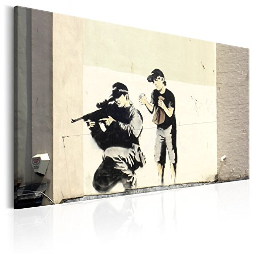 murando - Bilder Banksy Police Snipier 90x60 cm Vlies Leinwandbild 1 TLG Kunstdruck modern Wandbilder XXL Wanddekoration Design Wand Bild - Street Art Mural Graffiti i-C-0020-b-a