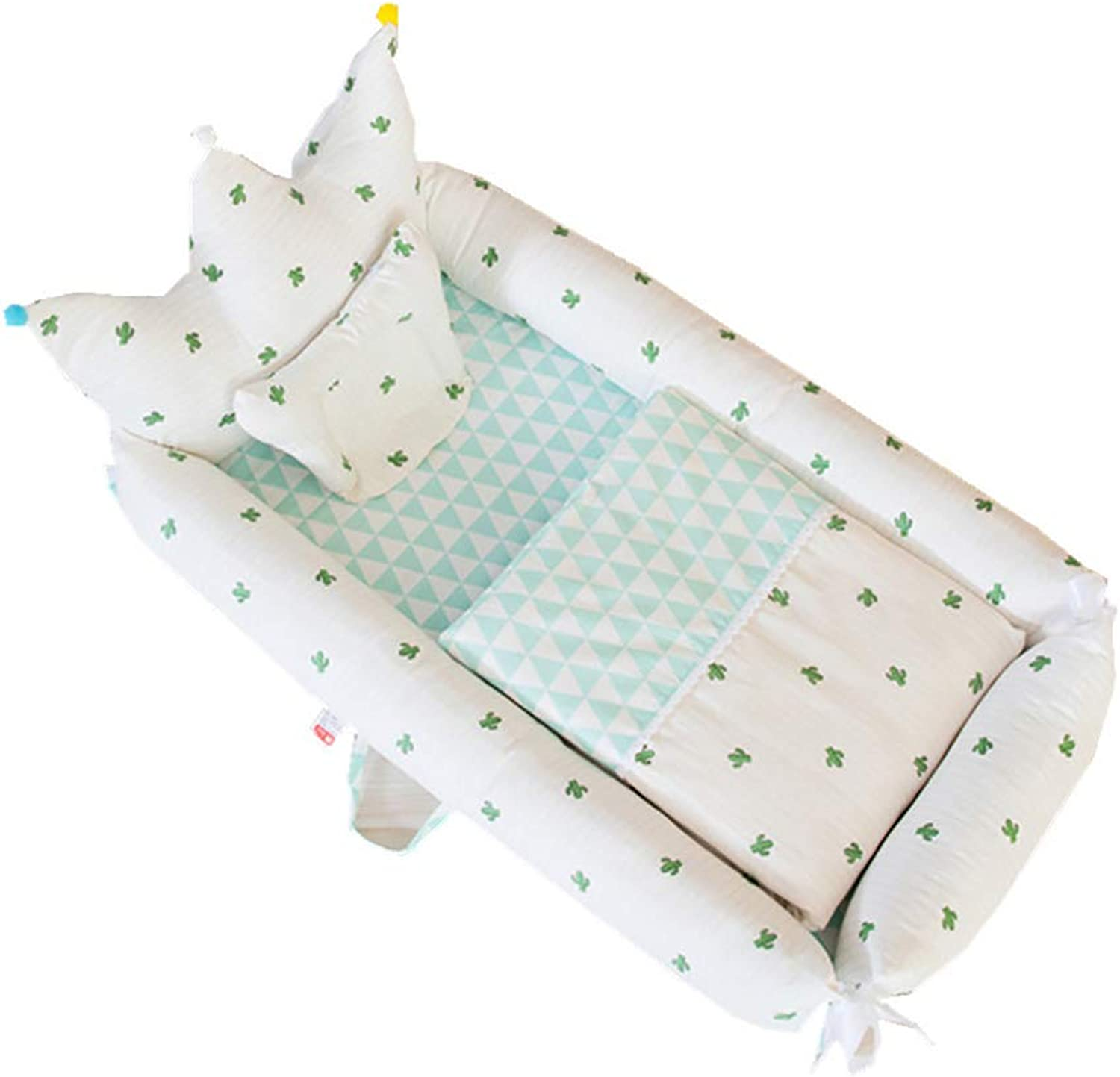 Baby Lounger Baby Bassinet for Bed Crown Shape Breathable Hypoallergenic Portable Crib for Travel Newborn Super Soft 100% Cotton