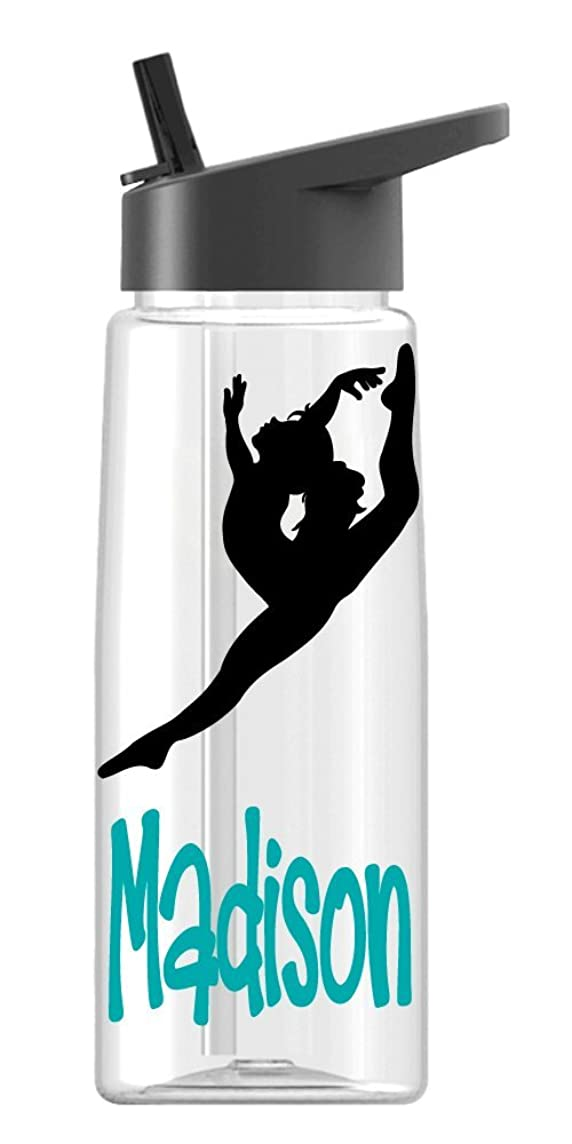 Personalized Sport water bottle Gymnast, Dancer design with name BPA Free 24 oz, clear or colored bottle