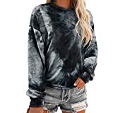 RUUHEE Women Tie Dye Long Sleeve Sweatshirt Printed Cute Casual Pullover Shirt (L(US Size 8-10),Black-2)