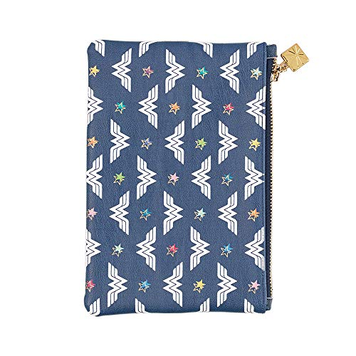 Wonder Woman x Erin Condren Designer Planner Pouch 8x5.25 - Classic Wonder Woman Zippered Storage Fanny Pack with Elastic Band for Pens, Pencils, Small School or Office Accessories