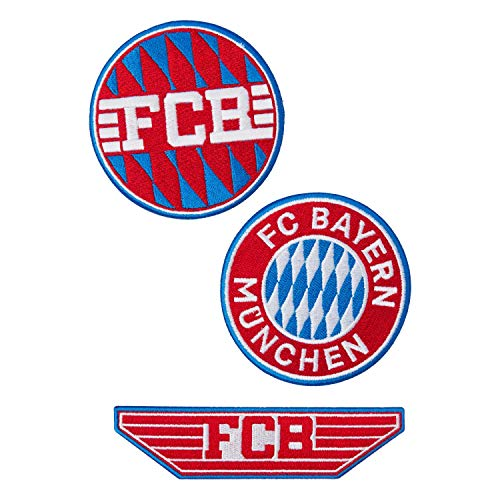 FC Bayern München Aufnäher - 3er Set - Patch, Aufbügler FCB - Plus Lesezeichen I Love München