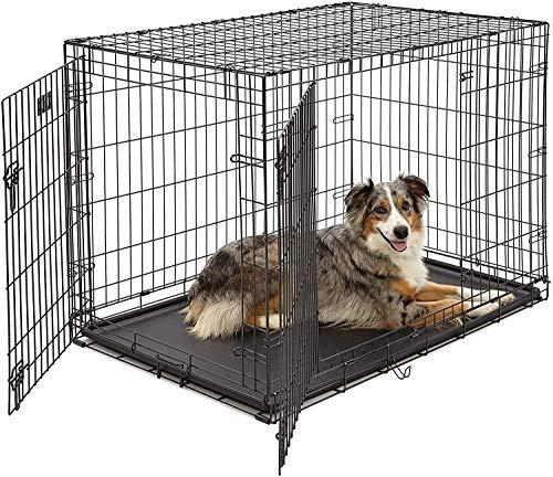 Sosirolo ペットケージ 折り畳み式 犬用ケージ 76×46.5×55cm トレイ付き 出入り口3つ ワンちゃん 犬小屋 組み立て簡単 猫用 小型犬 中型犬