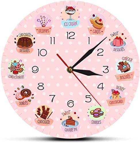 Relojes De Pared Postres Letrero De Tienda De Panadería Reloj De Pared Decorativo Sin Tictac Reloj De Pared Para Cocina Cafetería Bar Restaurante Reloj De Regalo Silencioso Redondo De 12 Pulgadas
