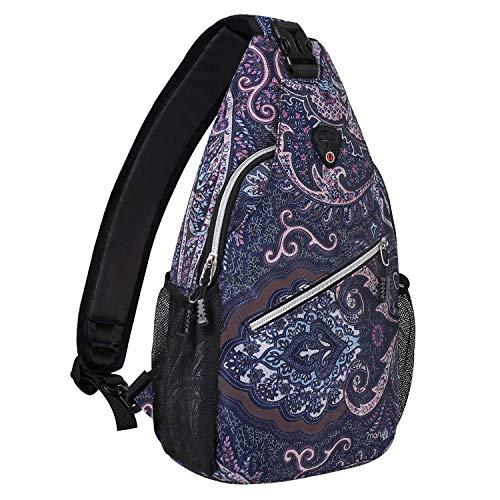 MOSISO Sling Backpack,Travel Hiking Daypack Pattern Rope Crossbody Shoulder Bag, Navy Blue Base Totem Texture