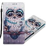 MRSTER LG K40 Handytasche, Leder Schutzhülle Brieftasche Hülle Flip Hülle 3D Muster Cover Stylish PU Tasche Schutzhülle Handyhüllen für LG K40. YB Owl