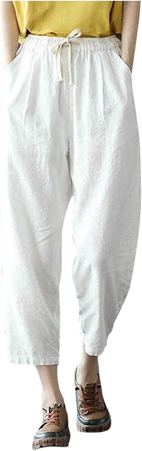 ZAKIO 2021 Linen Baggy Drawstring Pants for Women Casual Loose Fit Solid Elastic Waist Cropped Capri Trousers