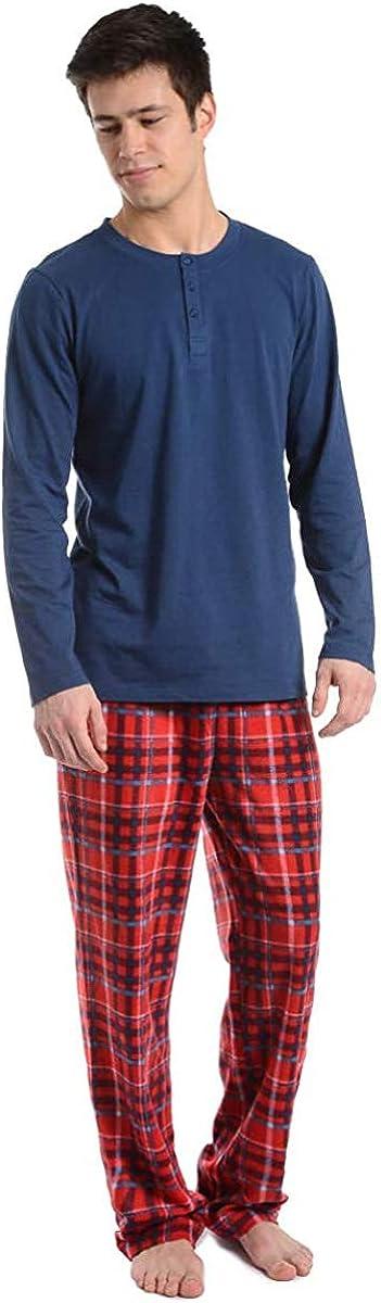 Cherokee Men's 2-Piece Henley Longsleeve Top and Pajama Set, Multicolor