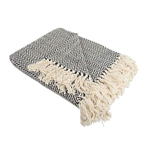 """DII Rustic Farmhouse Cotton Chevron Blanket Throw with Fringe For Chair, Couch, Picnic, Camping, Beach, & Everyday Use , 50 x 60"""" - Mini Chevron Black"""