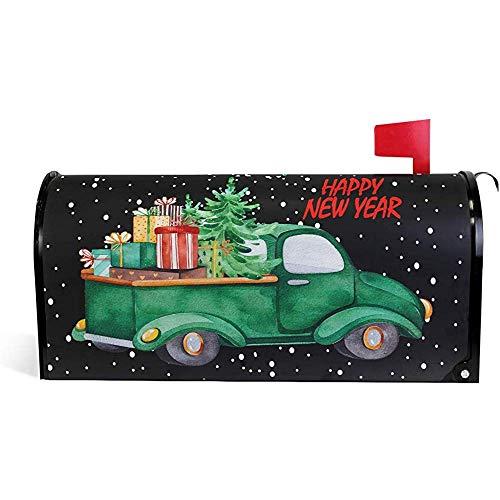Frohe Weihnachten Grün Pickup Truck Geschenkbaum Auto Mailbox Abdeckungen Magnetische Weihnachten Frohes Neues Jahr Box Wraps 21 'x 18'