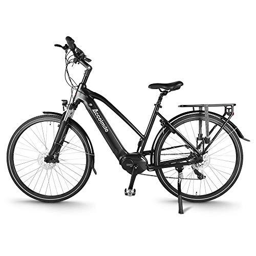 """Accolmile City Bicicleta Eléctrica de Trekking Urbano 28"""", BAFANG 36V 250W M200 Torque Mid Motor, Ebike para Hombres y Mujeres, Batería de Litio de 14,5 Ah 522 WH, Shimano 7 Velocidades"""