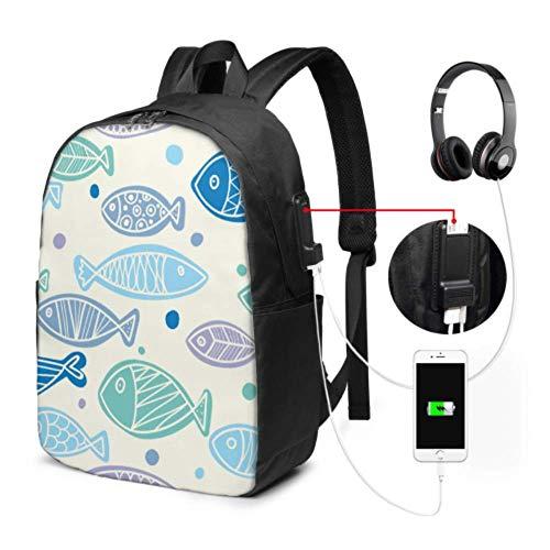 Grande zaino per computer portatile marino carino pesce bambino subacqueo portatile College zaino con porta di ricarica USB e porta cuffie per college lavoro, viaggi
