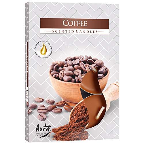 hibuy Duft Teelichter/Duftkerzen - Coffee - Kaffee Duft - Brenndauer 4 Stunden - 6 Stück