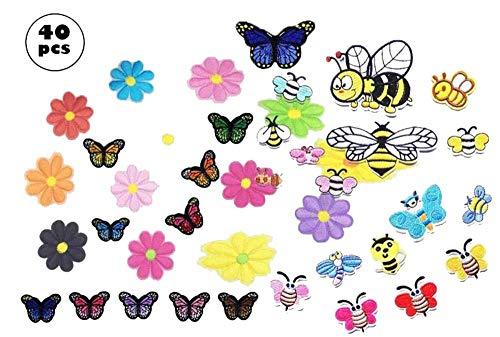 Parches Ropa, 40pcs Patch Sticker, Cute DIY Ropa Parches para la camiseta Jeans Ropa Bolsas,Mariposa Flor Abeja