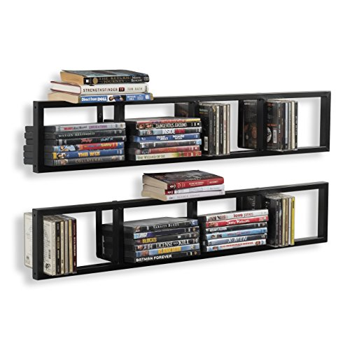 You-Have-Space Wall Mount 34 Inch Media Storage Rack CD DVD Organizer Metal Floating Shelf Set of 2 Black