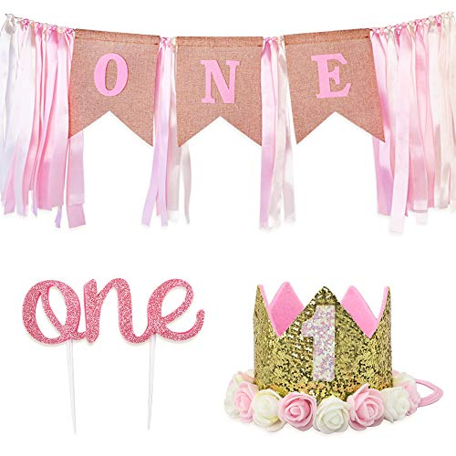 """RUBFAC 1st Birthday Decoration for Girl, First Birthday Number 1 Crown,""""one"""" Burlap Banner High Chair Decoration and Cake Topper"""