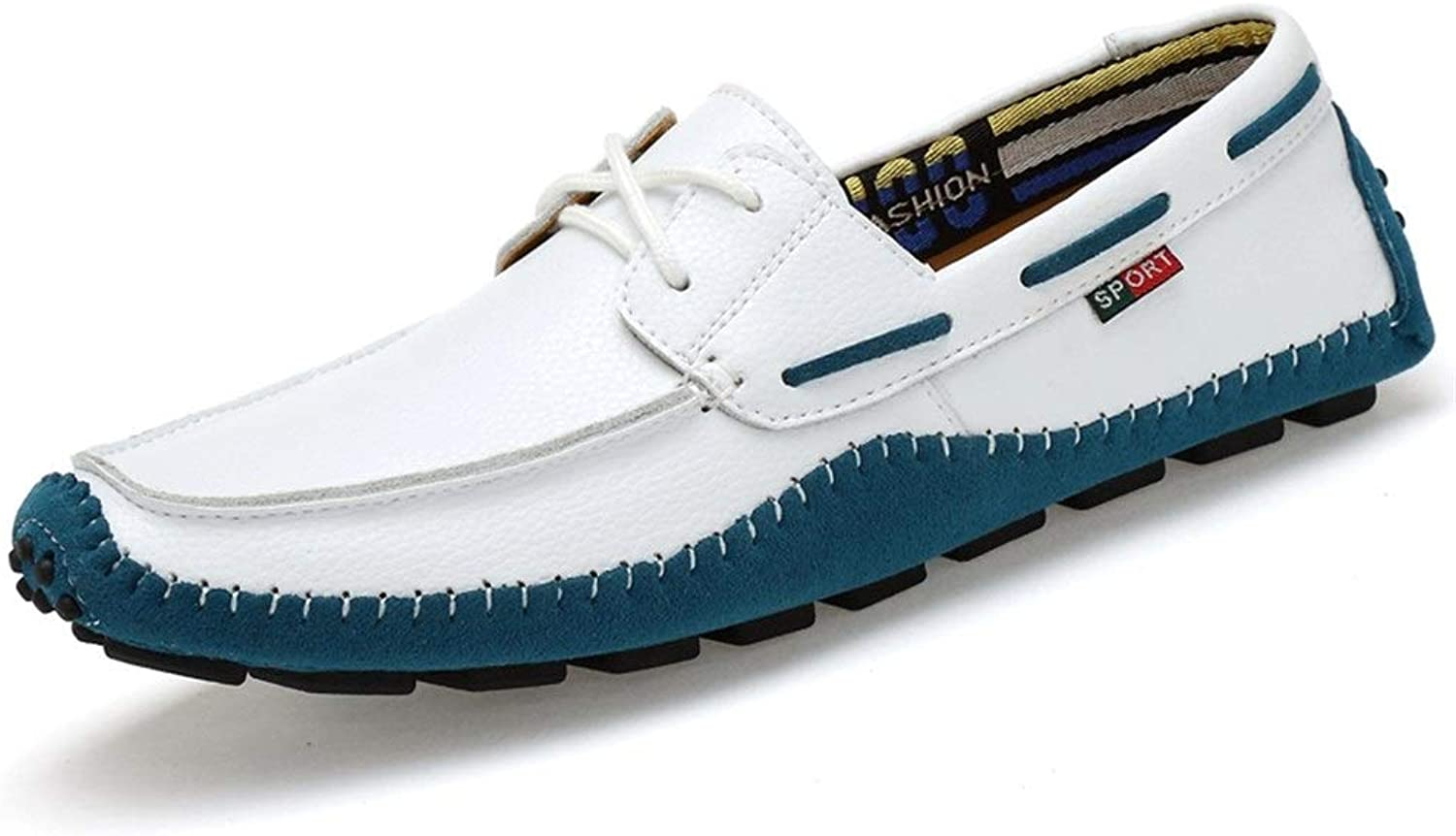 DorisAA-MS Men Leather Loafer shoes Oxfords Leather Driving Loafers Round Toe Flat Penny shoes Upper Lace Up Walking Boat shoes Loafer shoes (color   White, Size   9.5 UK)