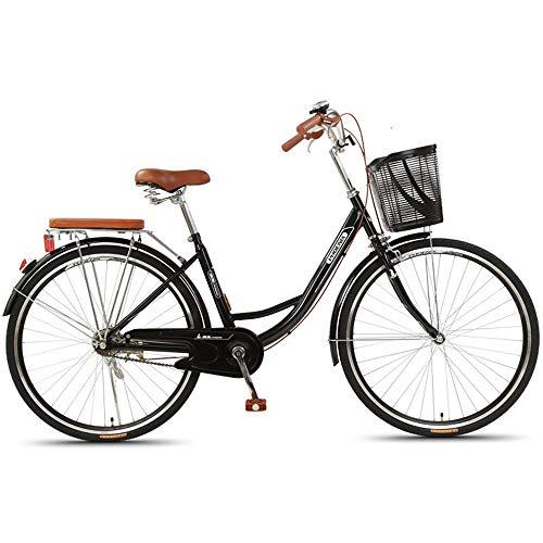 JHKGY Unisex Classic Fahrrad,Retro Single Speed Bike,Rahmen Aus Kohlenstoffhaltigem Stahl,Mit Frontkorb & Gepäckträger,Single Speed Comfort Bikes Für Männer Frauen,Schwarz,24 inch