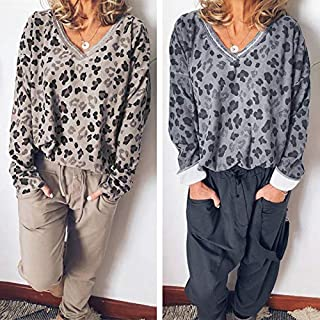 Extaum Casual Women Leopard Print T-shirt V Neck Long Sleeve Loose Tunic Basic Tee Tops Blouse Grey/Khaki