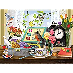 Diymood Painting Acrylic Paint by Number Kits Autumn Woods White Crane Bird for Kids Students Adults Beginner, DIY Windowsill Alarm Clock Flowers Birds Oil Painting Drawing Wall Home Decor 16x20inch