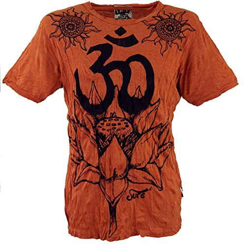 Guru-Shop Sure T-Shirt Lotus OM, Herren, Rostorange, Baumwolle, Size:M, Bedrucktes Shirt Alternative Bekleidung