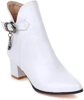 GIY Women's Pointed Toe Dress Ankle Boots Fashion Block Heel Buckle Zip Chelsea Booties Western Short Boot