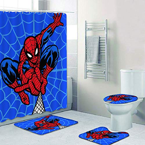 FRECASA 4 Pcs Spiderman Shower Curtain Sets with Rugs, Toilet Lid Cover, Contour Pad and Bath Mat Cartoon Marvel Superhero Shower Curtain Polyester Waterproof