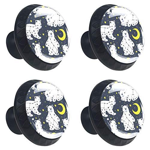 Tizorax Sternbild Bär mit Mond und Sternen, 4 Packungen für Küchenschublade, runde Schrankgriffe mit Schrauben, Heimdekoration
