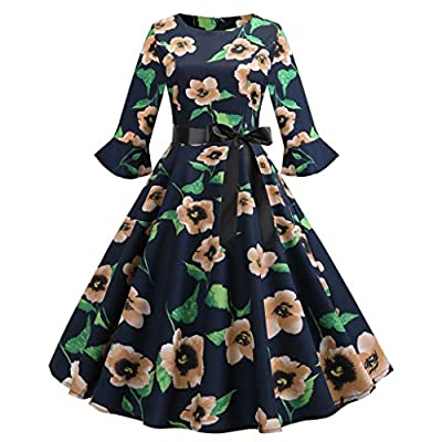 Sufeng Women Three Quarter Sleeve O Neck Printing Vintage Gown Evening Party Dress