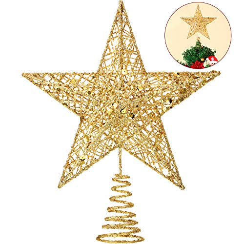 Blulu 6 Inches Star Tree Topper Exquisite Shimmery Christmas Tree Topper for Christmas Tree Decoration (Gold)