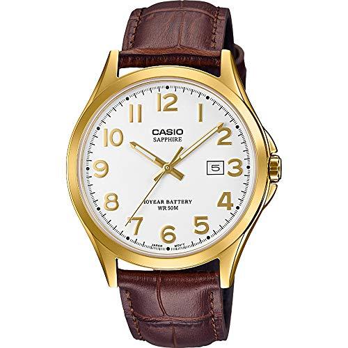 CASIO Herren Analog Quarz Uhr mit Leder Armband MTS-100GL-7AVEF