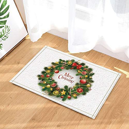 SRJ2018 - Felpudo de baño Antideslizante con diseño de Coronas de Navidad contra el Fondo Blanco para Puertas de Interior y Puerta Delantera, 60 x 40 cm, Accesorios de baño