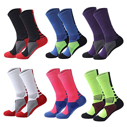 Big Boys Ski Outdoor Hiking Crew Basketball Sports Socks Soccer(6 Pack)